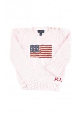 Różowy sweter dziewczęcy z flagą z przodu, Polo Ralph Lauren