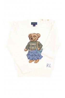 Biały sweter dziewczęcy z kultowym misiem, Polo Ralph Lauren