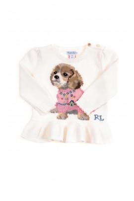 Biały sweterek niemowlęcy z falbanką, Ralph Lauren