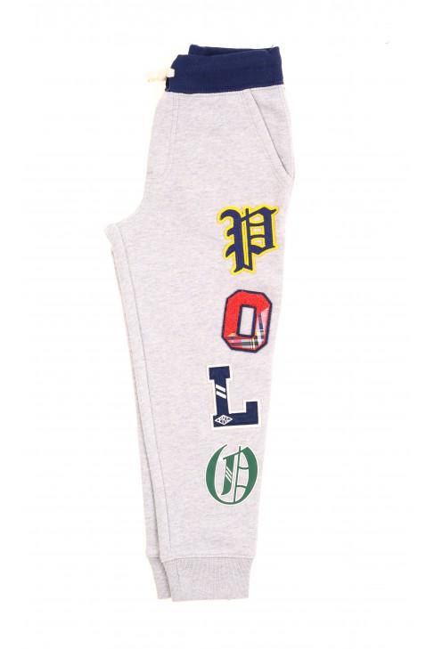 Szare spodnie dresowe z przodu z aplikacjami, Polo Ralph Lauren