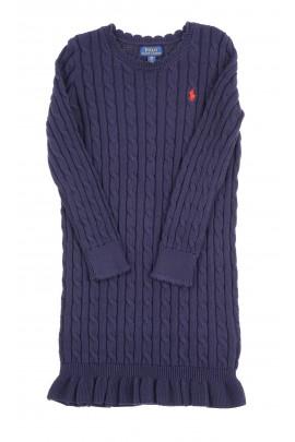 Granatowa sukienka o splocie warkoczowym, Polo Ralph Lauren