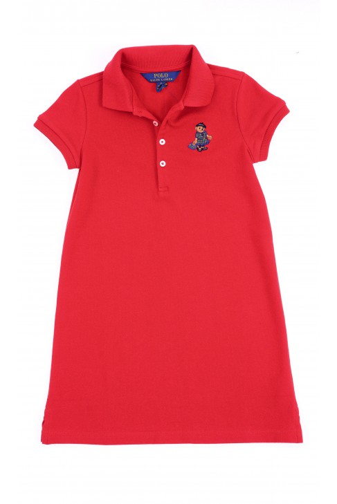 Czerwona sukienka z krótkim rękawem, Polo Ralph Lauren