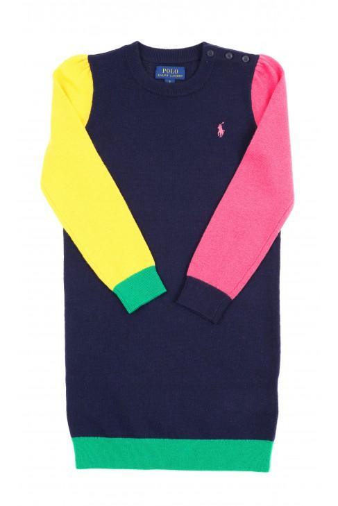 Granatowa wełniana sukienka z kolorowymi rękawami, Polo Ralph Lauren