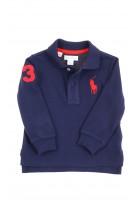 Granatowa koszulka polo na długi rękaw, Ralph Lauren