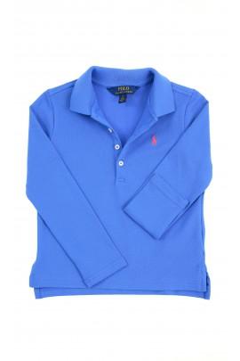 Niebieska koszulka polo dziewczęca na długi rękaw, Polo Ralph Lauren