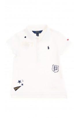 Biała koszulka polo dziewczęca z aplikacjami, Polo Ralph Lauren