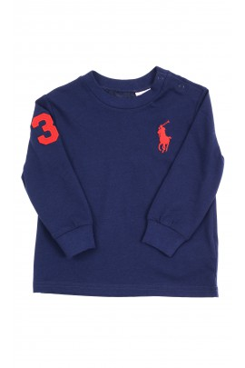 Granatowy t-shirt na długi rękaw, Ralph Lauren