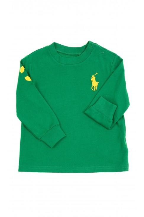 Ciemno-zielony t-shirt na długi rękaw, Ralph Lauren