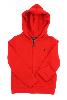 Czerwona bluza dresowa z kapturem na suwak, Polo Ralph Lauren