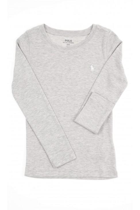 Szara bluzka dziewczęca na długi rękaw, Polo Ralph Lauren