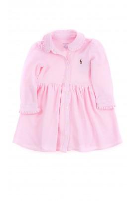 Różowa sukienka niemowlęca z długim rękawem, Ralph Lauren