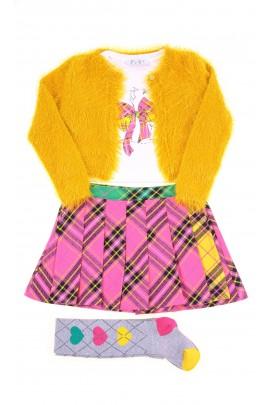 Żółte bolerko dziewczęce z futerkiem, ELSY