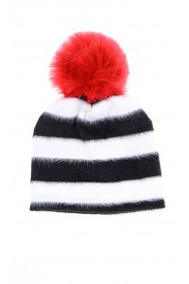 Czapka biało czarne poziome pasy z czerwonym pomponem, T-LOVE