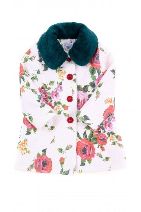 Biały płaszcz dziewczęcy w kolorowe róże, Special Day
