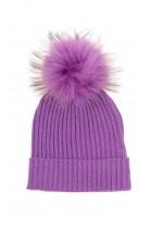 Fioletowa czapka dziewczęca wciągana z pomponem, ELSY