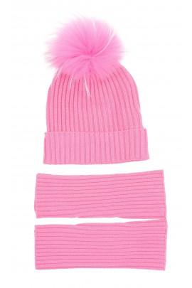 Różowa czapka dziewczęca wciągana z pomponem, ELSY