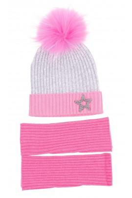 Szara czapka z różowym pomponem, ELSY