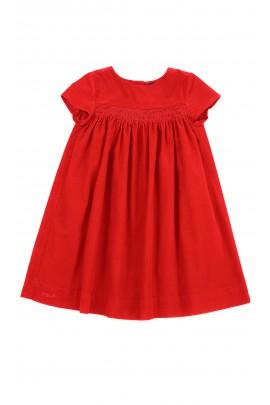 Czerwona sukienka sztruksowa na krótki rękaw, Polo Ralph Lauren