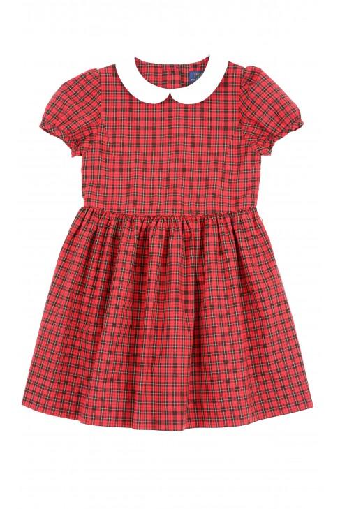 Sukienka w czerwono-czarną drobną kratkę na krótki rękaw, Polo Ralph Lauren