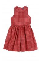 Sukienka w czerwono-czarną kratkę bez rękawa, Polo Ralph Lauren