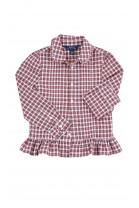 Bluzka na długi rękaw w drobną kratkę biało-czerwoną, Polo Ralph Lauren