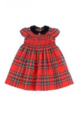 Sukienka niemowlęca w dużą czerwoną kratę na uroczystości, Ralph Lauren