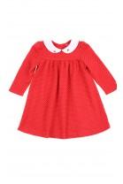 Czerwona sukienka niemowlęca na długi rękaw, Ralph Lauren