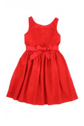 Czerwona sukienka sztruksowa bez rękawów, Polo Ralph Lauren