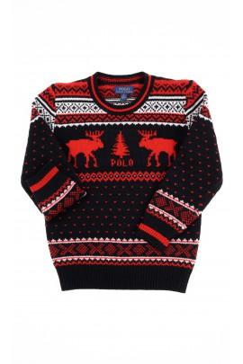 Sweter czarno-czerwony z motywem świątecznym, Polo Ralph Lauren