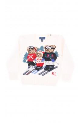 Biały - ecru sweter z trzema misiami z przodu, Polo Ralph Lauren