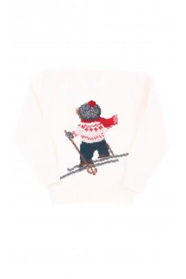 Sweter ecru z jednym misiem z przodu i na plecach, Polo Ralph Lauren