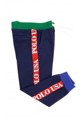 Granatowe spodnie dresowe z czerwonymi lampasami, Polo Ralph Lauren