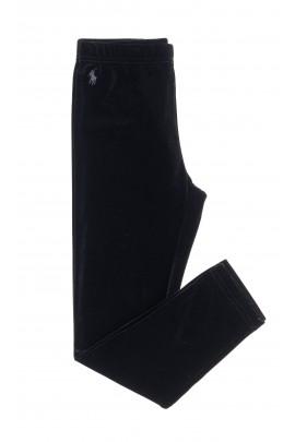 Czarne legginsy dziewczęce welurowe, Polo Ralph Lauren