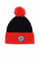 Dzianinowa czapka chłopięca czarno-czerwona z pomponem, Polo Ralph Lauren