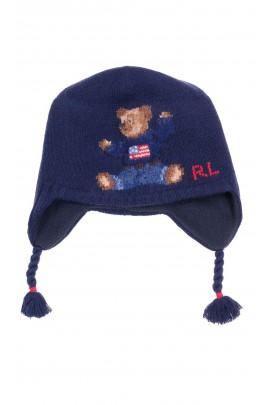 Granatowa czapka z uszkami z kultowym misiem, Ralph Lauren