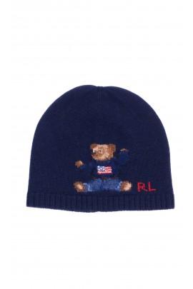 Granatowa czapka dzianinowa z kultowym misiem, Polo Ralph Lauren