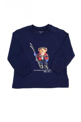 Granatowy t-shirt z kultowym misiem z przodu na długi rękaw, Ralph Lauren