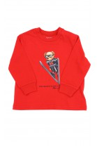 Czerwony t-shirt z kultowym misiem z przodu na długi rękaw, Ralph Lauren