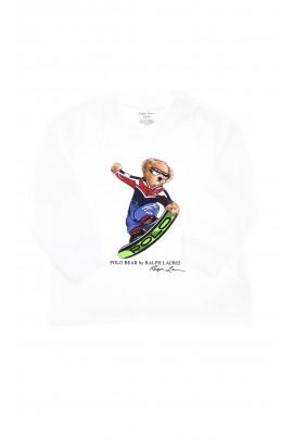 Biały t-shirt z kultowym misiem z przodu na długi rękaw, Ralph Lauren