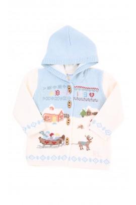 Gruby podwójny sweter z kapturem ecru niemowlęcy, Ralph Lauren