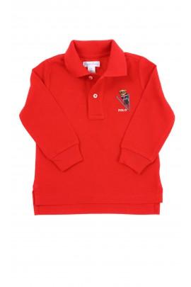 Czerwone polo chłopięce z długim rękawem, Ralph Lauren