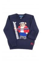 Granatowy sweter chłopięcy z kultowym misiem, Polo Ralph Lauren