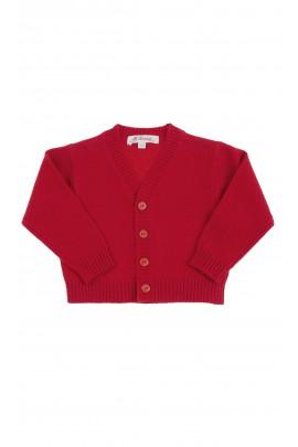 Czerwony sweter chłopięcy rozpinany z przodu, Mariella Ferrari