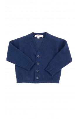 Granatowy sweter chłopięcy rozpinany z przodu, Mariella Ferrari