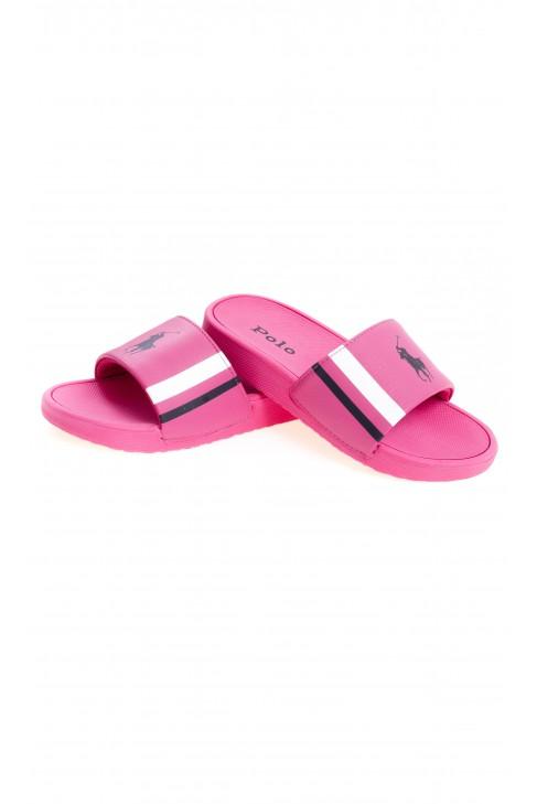 Różowe klapki dla dziewczynki na szeroki pasek, Polo Ralph Lauren