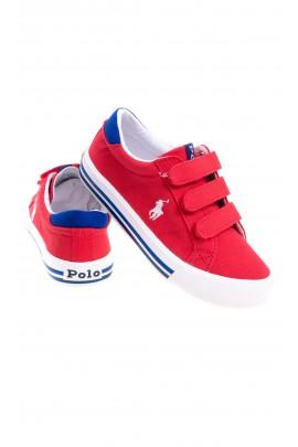 Czerwone tenisówki dla chłopca na rzepy, Polo Ralph Lauren