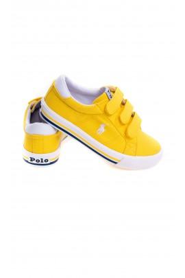 Żółte tenisówki dla dzieci na rzepy, Polo Ralph Lauren