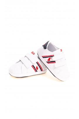 Białe buciki niemowlęce na rzepy Ralph Lauren