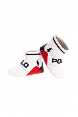 Białe buciki niemowlęce z cholewką, Ralph Lauren