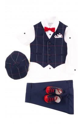 Komplet chłopięcy kamizelka, koszula, spodnie 3/4, Colorichiari